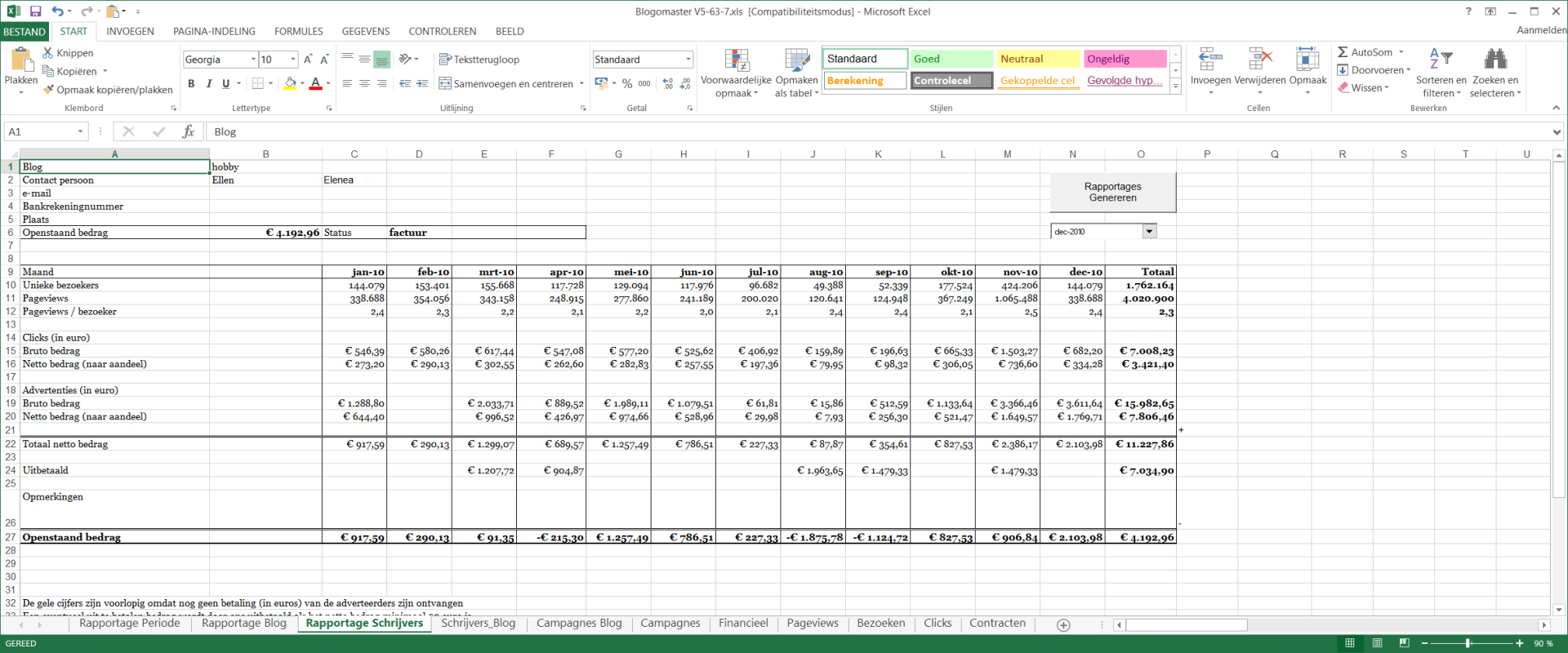 Excel applicatie